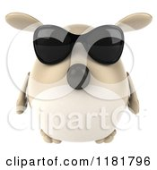 Clipart Of A 3d Chubby Dog Wearing Sunglasses Royalty Free CGI Illustration
