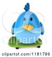 Clipart Of A 3d Chubby Blue Bird Skateboarding 2 Royalty Free CGI Illustration