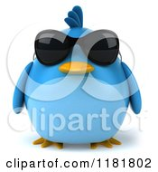 Clipart Of A 3d Chubby Blue Bird Wearing Sunglasses Royalty Free CGI Illustration