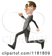 Clipart Of A 3d White Businessman Running 2 Royalty Free CGI Illustration
