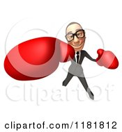 Clipart Of A 3d White Businessman Punching With Boxing Gloves 2 Royalty Free CGI Illustration