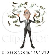 Clipart Of A 3d White Businessman With Falling Cash Money Royalty Free CGI Illustration