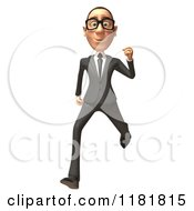 Clipart Of A 3d White Businessman Running Royalty Free CGI Illustration