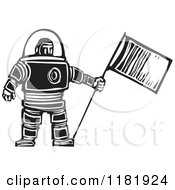 Clipart Of A Male Astronaut Holding A Flag Black And White Woodcut Royalty Free Vector Illustration