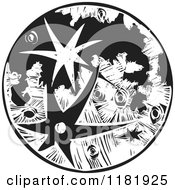 Clipart Of A Moon With Craters Black And White Woodcut Royalty Free Vector Illustration