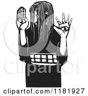 Girl With Eyes On Her Hands Black And White Woodcut