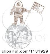 Clipart Of A Male Astronaut Holding A Flag On The Moon Woodcut Royalty Free Vector Illustration