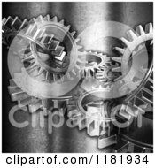 Clipart Of 3d Gears On Scratched Silver Royalty Free CGI Illustration