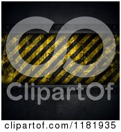 Clipart Of A 3d Hazard Stripes Plaque On Dark Metal Royalty Free CGI Illustration