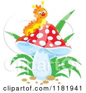 Cartoon Of A Happy Caterpillar On A Mushroom Royalty Free Vector Clipart by Alex Bannykh
