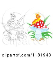 Cartoon Of An Outlined And Colored Happy Caterpillar On A Mushroom Royalty Free Vector Clipart by Alex Bannykh