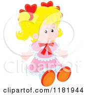 Cartoon Of A Sitting Cute Blond Girl In A Pink Dress Royalty Free Vector Clipart
