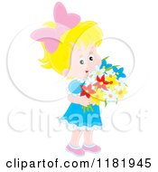 Cartoon Of A Cute Blond Girl Holding A Bouquet Of Flowers Royalty Free Vector Clipart