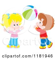 Cartoon Of A Girl And Boy Playing With A Ball Royalty Free Vector Clipart
