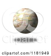 Clipart Of A 3d Floating Fractal Globe And Shadow On White Royalty Free CGI Illustration