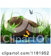 Clipart Of A Backdrop Of Butterflies Over A Pond With Reeds And A Boulder Royalty Free Vector Illustration