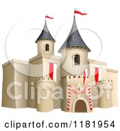 Clipart Of A 3d Castle With Red And White Flags Royalty Free Vector Illustration