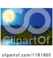 Clipart Of A Backdrop Of A Full Moon Over A Pond And Reeds Royalty Free Vector Illustration