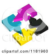 Poster, Art Print Of 3d Colorful Arrow Pieces Connecting