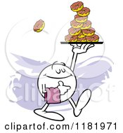 Cartoon Of A Pleasant Moodie Character Serving Donuts Royalty Free Vector Clipart