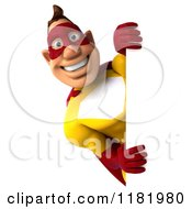 Clipart Of A 3d Super Hero Man In A Yellow And Red Costume Holding A Sign 3 Royalty Free CGI Illustration
