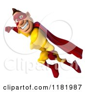 Clipart Of A 3d Flying Super Hero Man In A Yellow And Red Costume Royalty Free CGI Illustration