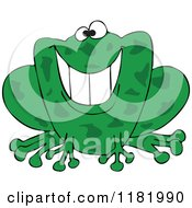 Cartoon Of A Grinning Green Frog Royalty Free Vector Clipart