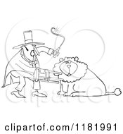 Cartoon Of An Outlined Circus Lion Tamer Holding A Stool And Whip Royalty Free Vector Clipart