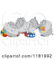 Cartoon Of Four Circus Elephants With Balls And Stands Royalty Free Vector Clipart