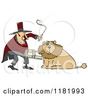 Cartoon Of A Circus Lion Tamer Holding A Stool And Whip Royalty Free Vector Clipart