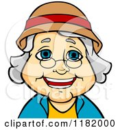 Cartoon Of A Happy Senior Woman With Glasses And A Hat Royalty Free Vector Clipart by Vector Tradition SM