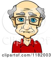 Cartoon Of A Senior Caucasian Man With Glasses Royalty Free Vector Clipart by Vector Tradition SM