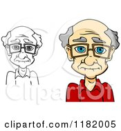 Cartoon Of A Grayscale And Colored Senior Caucasian Man With Glasses Royalty Free Vector Clipart by Vector Tradition SM