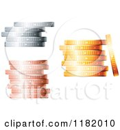 Clipart Of 3d Bronze Silver And Gold Coin Stacks Royalty Free Vector Illustration