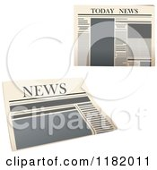 Clipart Of Yellowed Newspapers Royalty Free Vector Illustration