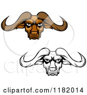Clipart Of Aggressive Brown And Grayscale Buffalo Heads With Long Horns Royalty Free Vector Illustration by Vector Tradition SM
