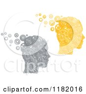 Clipart Of Heads Formed Of Silver And Gold Pistons And Gears Royalty Free Vector Illustration