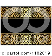 Clipart Of A Black Background With Golden Floral Borders 2 Royalty Free Vector Illustration