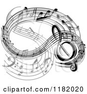 Clipart Of A Wave Of Black And Gray Music Notes Royalty Free Vector Illustration