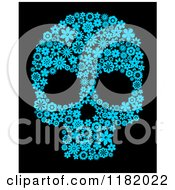 Clipart Of A Blue Floral Skull On Black Royalty Free Vector Illustration by Vector Tradition SM