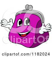 Clipart Of A Happy Purple Coin Purse Mascot Royalty Free Vector Illustration by Vector Tradition SM