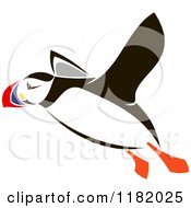 Clipart Of A Flying Puffin Bird Royalty Free Vector Illustration by Vector Tradition SM