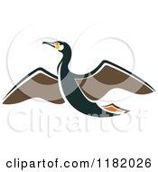 Clipart Of A Flying Albatross Bird Royalty Free Vector Illustration