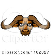 Clipart Of An Aggressive Buffalo Head With Long Horns Royalty Free Vector Illustration