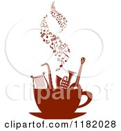 Clipart Of Music Notes Over Instruments In A Coffee Cup Royalty Free Vector Illustration