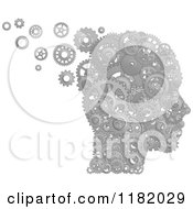Clipart Of A Head Formed Of Silver Pistons And Gears Royalty Free Vector Illustration