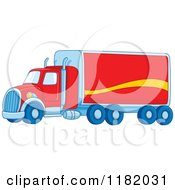Cartoon Of A Red Big Rig Truck Royalty Free Vector Clipart by yayayoyo