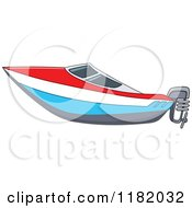 Cartoon Of A Red White And Blue Speed Boat Royalty Free Vector Clipart