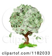 Cartoon Of A Money Tree Abundant With Cash Foliage Royalty Free Vector Clipart by AtStockIllustration