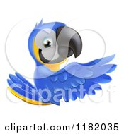 Cartoon Of A Happy Blue And Yellow Macaw Parrt Presenting A Sign Royalty Free Vector Clipart